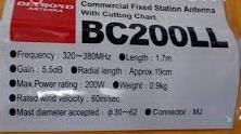 Diamond Antenna BC 200LL